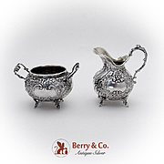 Baroque Floral Scroll Creamer Sugar Bowl 800 Silver 1890