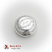 Round Engraved Pill Box English Sterling Silver Birmingham