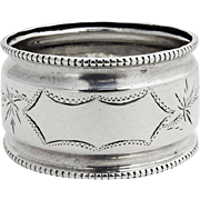 Beaded Engraved Napkin Ring Coin Silver 1870