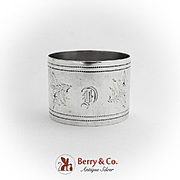 Aesthetic Engraved Grapevine Napkin Ring Coin Silver 1875