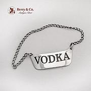 Vintage Vodka Bottle Tag Label Sterling Silver