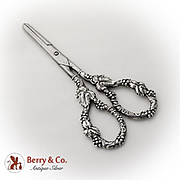 Art Nouveau Grape Flower Shears Polished Steel Sterling Silver Handles 1900