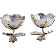 Russian Water Lily Egg Cups Pair Foliate Feet Silverplate Brass 1950