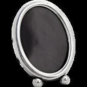 Small Oval Picture Frame Ball Feet Purple Velvet Sterling Silver 1920