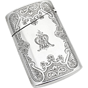 Engraved Bright Cut Small Cigar Case Gorham Sterling Silver 1875