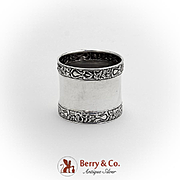 Art Nouveau Floral Embossed Banded Napkin Ring Sterling Silver 1910