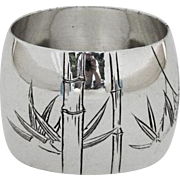 Japanese Engraved Bamboo Napkin Ring Sterling Silver
