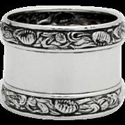 Art Nouveau Repousse Floral Napkin Ring Sterling Silver 1900