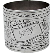 Antique Engraved Coin Silver Napkin Ring 1875 Monogrammed
