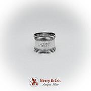 Gorham Sterling Silver Napkin Ring Banded Rims