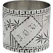 Aesthetic Engraved Napkin Ring Coin Silver 1875