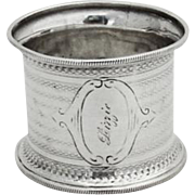 Engine Turned Small Napkin Ring Milled Rims Coin Silver 1870