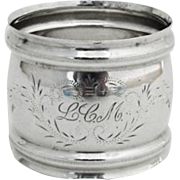 Watrous Sterling Silver Napkin Ring Engraved Cartouche Monogram