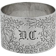 English Thistle Floral Engraved Napkin Ring William Adams Sterling Silver