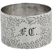 English Thistle Floral Engraved Napkin Ring Sterling Silver Birmingham