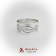Art Nouveau Floral Engraved Narrow Napkin Ring Sterling Silver 1900