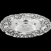 Art Nouveau Floral Scroll Dish Alvin Sterling Silver 1900