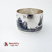 Niello Figural Napkin Ring Sterling Silver AMARA 1916