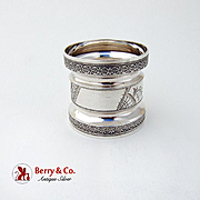 American Coin Silver Double Waisted Napkin Ring Engraved Embossed Rims
