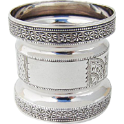 Double Waisted Napkin Ring Engraved Embossed Border Shiebler Coin Silver