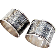Niello Figural Siamese Napkin Rings Pair Sterling Silver 1930