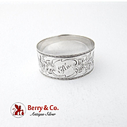 Foliate Engraved Napkin Ring Embossed Border F M Whiting Sterling Silver