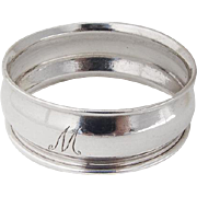 Small Sterling Silver Napkin Ring Monogrammed 1910