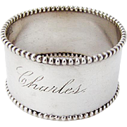 Beaded Sterling Silver Napkin Ring Simons Bros 1900