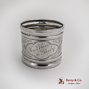 Vintage Engraved Foliate Napkin Ring American Coin Silver 1870