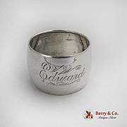 American Barrel Shaped Napkin Ring Sterling Silver 1910