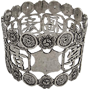 Openwork Chinese Character Floral Napkin Ring Sterling Silver 1900