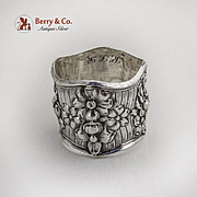 Double Wall Floral Repousse Napkin Ring Webster Co Sterling Silver 1900