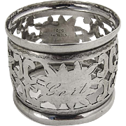 American Ornate Cut Work Napkin Ring Sterling Silver 1920