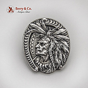 Indian Chief Head Paper Clip Gorham Sterling Silver