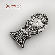 Ornate Cherub Scroll Paper Clip Sterling Silver