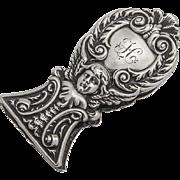 Ornate Cherub Scroll Paper Clip Sterling Silver