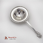 Vintage Over The Cup Tea Strainer Cut Work Handle Beaded Rim Sterling Silver 1920