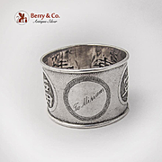 Chinese Export Silver Napkin Ring Chinese Characters Zee Shung Shanghai 1930