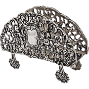 Openwork Cupid Floral Scroll Napkin Note Holder Shell Feet 800 Silver 1960
