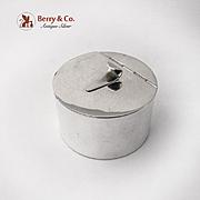 Art Moderne Round Box Hinged Lid Umberto Malinverni Italian 800 Silver 1960s