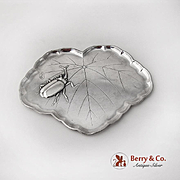 Leaf Form Dresser Tray Rhinoceros Beetle Chinese Export Sterling Silver 1930
