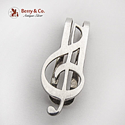 Figural G Clef Money Clip Sterling Silver Mexico 1980