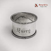 Applied Beaded Rim Napkin Ring Coin Silver 1880