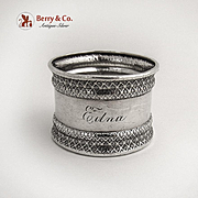 Embossed Geometric Rim Engraved Napkin Ring Coin Silver 1880