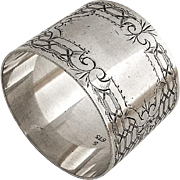 Geometric Engraved Napkin Ring Coin Silver 1870s