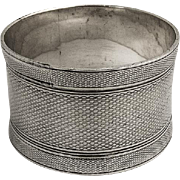 All Over Engine Turned Napkin Ring Coin Silver 1870
