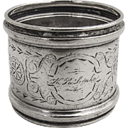 Engraved Banded Napkin Ring Coin Silver 1870