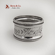 Engraved Banded Napkin Ring Milled Rim Coin Silver 1875