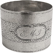 Aesthetic Engraved Napkin Ring Coin Silver 1870