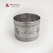 Engine Turned Engraved Napkin Ring Coin Silver 1870